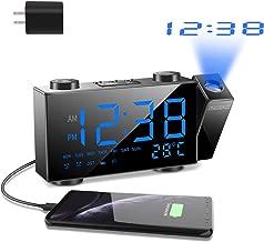 SZMDLX Projection Alarm Clock for Bedrooms, FM Radio Alarm Clock with Temperature Display, 6