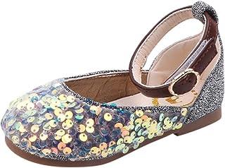 DolceTiger Chaussures Simples pour Filles en Cuir Brillant, Chaussures Princesse en Cuir, Filles Mignonnes Paillettes De C...