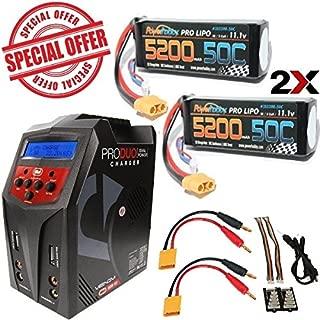 PowerHobby 3S 11.1V 5200mAh 50C Lipo 2 Pack XT60 w/ Venom Pro Duo 80W Charger