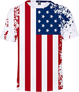 MGDL-R Men's Independence Day 3D Printed Graphic Short Sleeve Clothing American Flag Make Sense T-Shirt