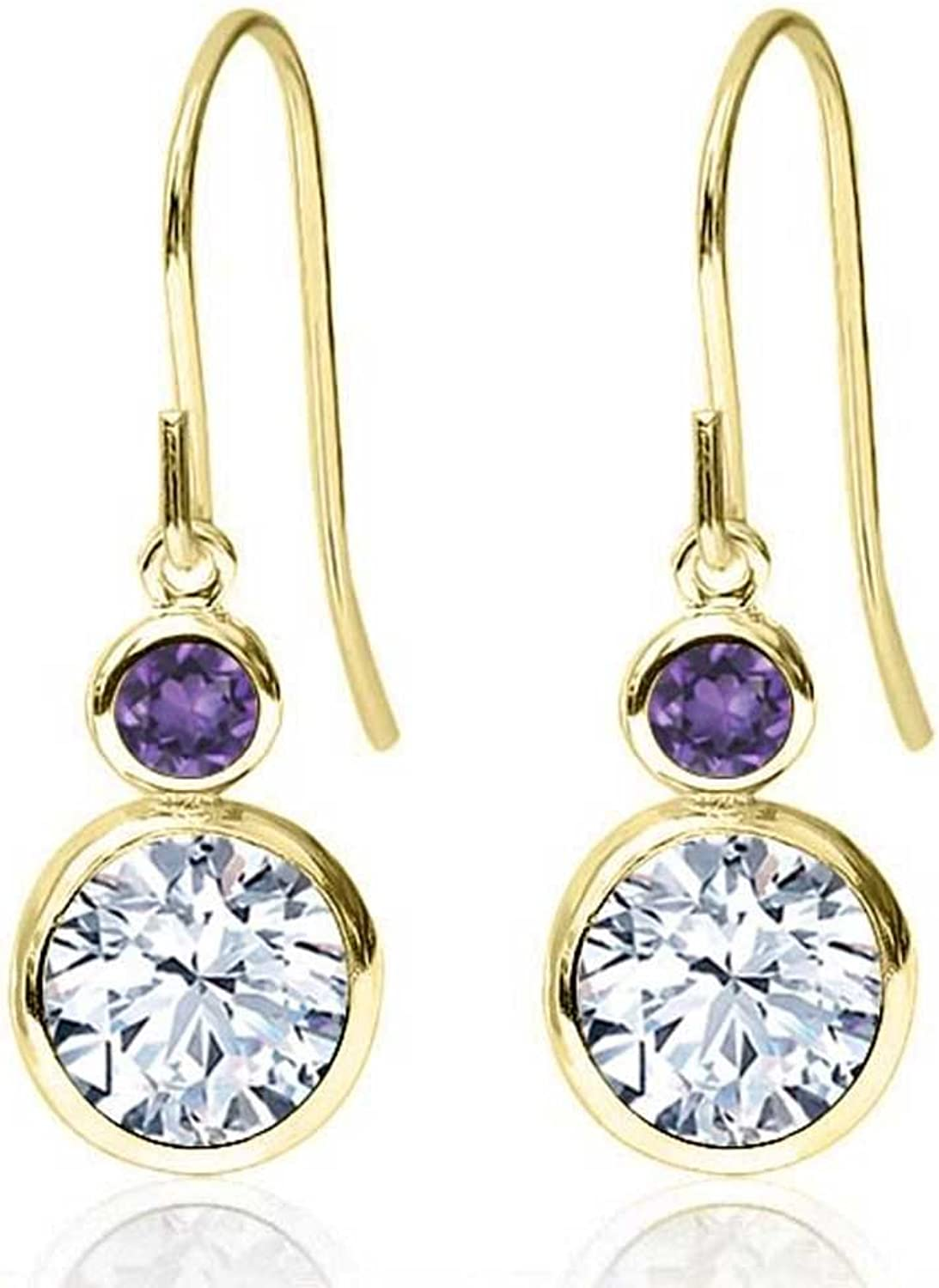 1.88 Ct Round White Zirconia Purple Amethyst 14K Yellow gold Earrings