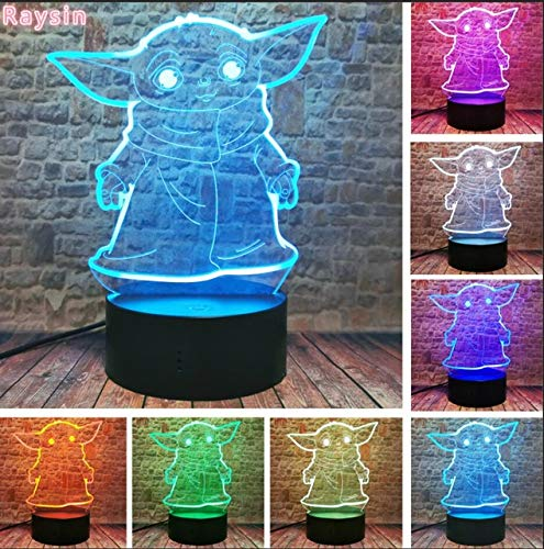 Death Star War Yoda The Mandalorian R2D2,3D Night Light Creative Illusion Visual Lamp Led Bedroom Decor for Holiday Xmas