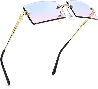نظارات شمس FEISEDY بدون إطار مستطيلة بدون إطار لون حلوى نظارات للنساء B2642