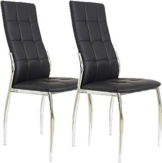 Miroytengo Pack 2 sillas Comedor Laci Negras Polipiel Metal Salon Estilo Moderno Cromado 101x51x45