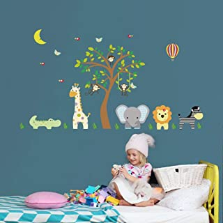 ufengke Jungle Animals Wall Stickers Elephant Giraffe Vinyl Wall Art Decals Wall Decor for Children Bedroom Nursery