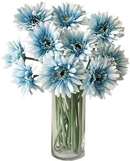 Rae's Garden Artificial Flowers Realistic Fake Flowers Gerbera Daisy Bridal Wedding Bouquet for Home Garden Wedding Party Decorations 10 Pcs (Blue)