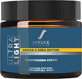 Spruce Shave Club Natural Moisturizer For Men | Ultra Light & Non Greasy Moisturizing Cream With Shea Butter, Argan Oil & 10 Natural Ingredients | No Silicones, Parabens, PEG's