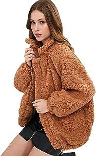 CharMma Women's Faux Fur Zip Up Long Sleeve Slip Pockets Cozy Fit Jacket