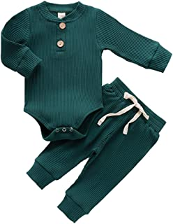 2Pcs Newborn Baby Boy Girl Fall Clothes Long Sleeve Button Romper Drawstring Pants Set Outfits…