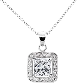 ROBERT MATTHEW Layla 18k White Gold Pendant Necklace - Simulated Diamond Halo Necklaces with Solitaire Princess Cut Cubic Zirconia Crystals - Silver CZ Necklaces
