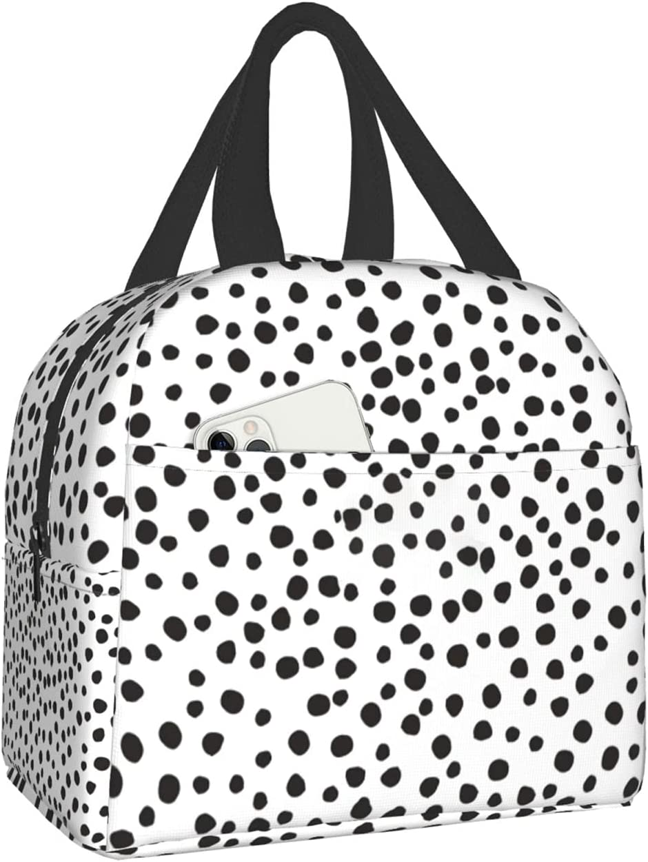 Easy Insulated Lunch Bags for Women Men, Cute Reusable Lunch Boxes Small Suitable Girls Boys Teens Work Picnic Travel, Dots