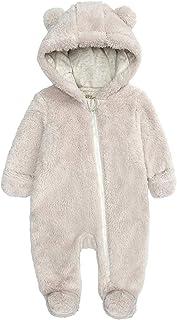 HUBA Neugeborenes Baby Strampler Mit Kapuze Cartoon Fleece Overall Verdicken Jumpsuit Winter Warme Schneeanzug für Jungen Mädchen0-12 Monate