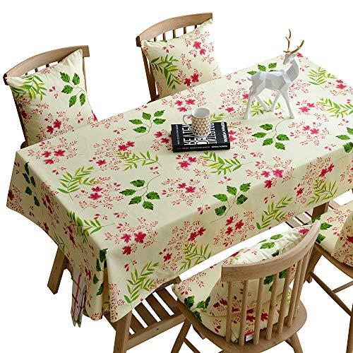 BSDK tafelkleed met bloemenpatroon, antislip, van katoen, voor binnen en buiten, voor bruiloft, feest, Kerstmis