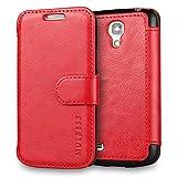 Mulbess Funda Samsung Galaxy S4 Mini [Libro Caso Cubierta] [En Capas de Billetera Cuero] con Tapa Magnética Carcasa para Samsung Galaxy S4 Mini Case, Vino Rojo