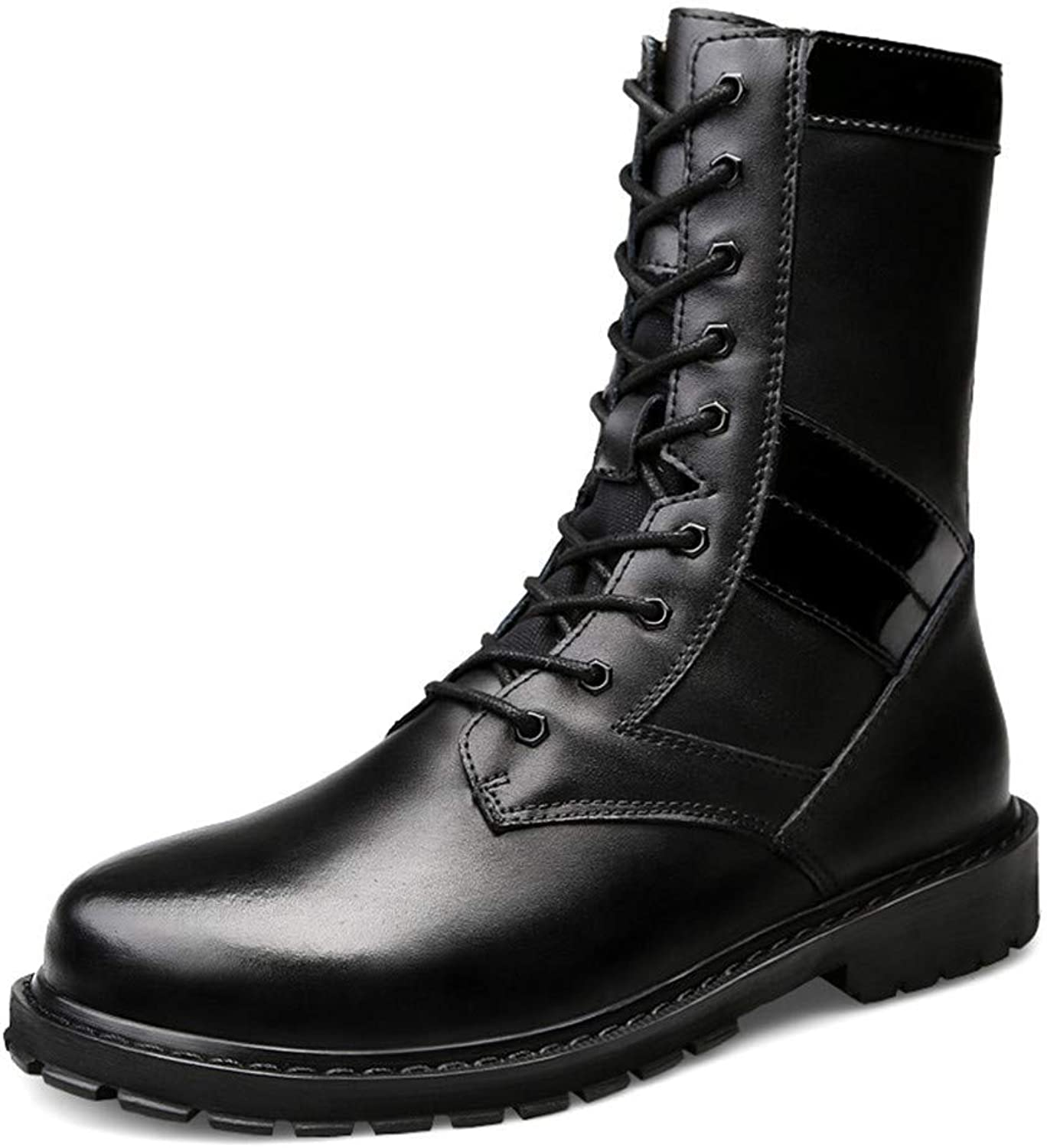 Fuxitoggo Men's Fashion Mid-Boots, Casual High-top Sole Imitation Army Boots (Warm Velvet Optional) (color  Warm Black, Size  42 EU) (color   Black, Size   44 EU)