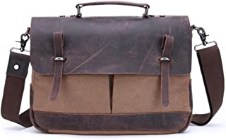 Men's Accessories Office Vintage Style 9.7 Inch Laptop Handbag Casual Business Briefcase Shoulder Messenger Satchel Bag,Black/Blue/Brown/Khaki Outdoor Recreation (Color : Brown)