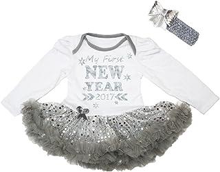 Petitebella Baby Girls' My First New Year 2017 White L/S Bodysuit Sequins Tutu