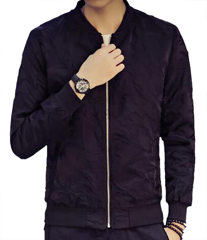 7ebcc29f6 Joe Wenko Men Zip Outerwears Outerwears Outerwears Baseball Long Sleeve  Casual Jackets Coat 69a8eb