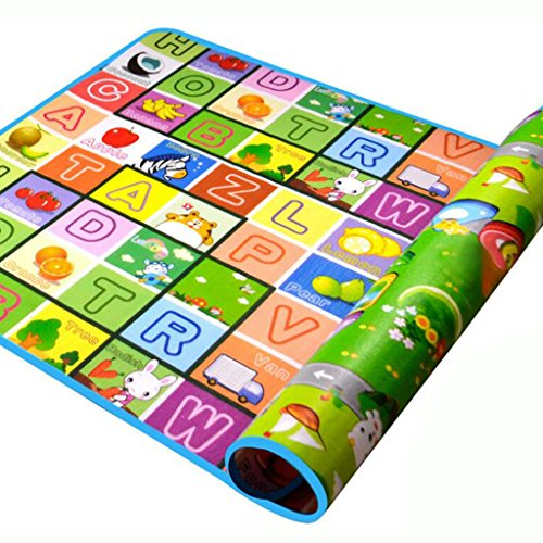 SIMPVALE - Tappeto di gioco per neonati e bambini piccoli Bambino gattonare, in schiuma spessa, motivo: alfabeto e cifre con disegni di animali, 180cm x 120cm x 0.5cm