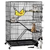 , Review of Yaheetech 4-Tier Cat Cage Playpen with 3 Ramp Ladders&4 Casters, Black