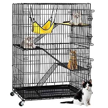 Yaheetech 4-Tier Kitten Cat Ferret Cage Cat Playpen Black