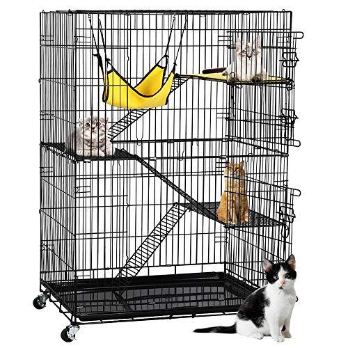 YAHEETECH 4-Tier Kitten Cat Ferret Cage Cat Playpen, Black