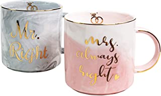 Vilight Funny Wedding Engagement and Bridal Shower Gifts for Bride Groom and Couples - Mr & Mrs Mugs Present for Anniversary and Newlywed - Marble Coffee Cups Set