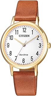 Citizen Women's Solar Powered Wrist watch, Leather Strap analog Display and Leather Strap, EM0578-17A