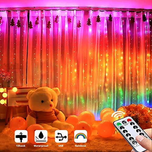 Regenbogen-Vorhanglichter, 3 m x 3 m, 300 LEDs, 8 Modi, Lichterkette mit Fernbedienung, wasserdichte USB-Vorhanglichter für Hochzeiten, Partys, Weihnachten, Wanddekorationen (Regenbogen)