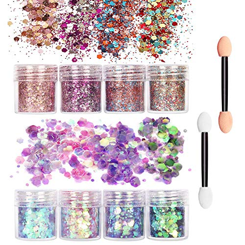 x18 Assorted Coloured Craft Glitter Pots//Jars Pack Eyeshadow Eye Make Up