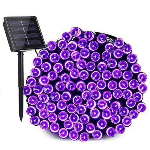 NEXVIN Halloween Lichterkette Solar Aussen, 20M 200 LED Lila Lichterkette Außen, 8 Modi Wasserdichte Solarlichterkette für Außen, Garten, Terrasse, Balkon, Halloween Deko