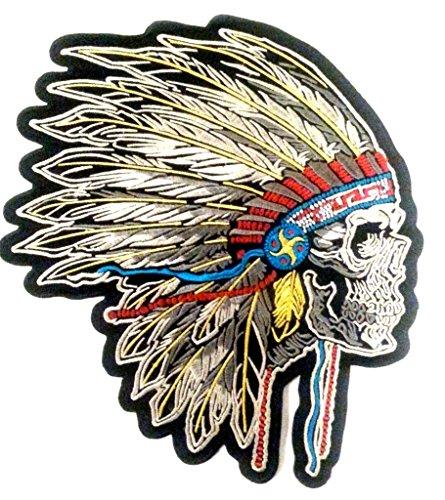 b2see Bügel Iron on Indianer Skull Patch-Aufnäher-Applikation-Patches-Sticker-Ei groß Jeans-Jacke-n Indianer Skull Totenkopf 24 x23 cm