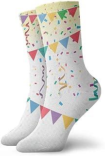 tyui7, Calcetines de compresión antideslizantes de bandera de confeti de colores brillantes Calcetines deportivos de 30 cm acogedores para hombres, mujeres, niños