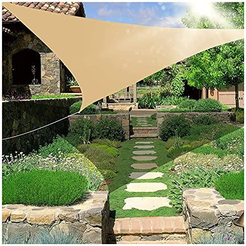 HJXX Sombra de vela triángulo impermeable, terraza de protección solar, toldo triangular, vela de 376 g/m², bloque UV para patio al aire libre, jardín, patio trasero, césped