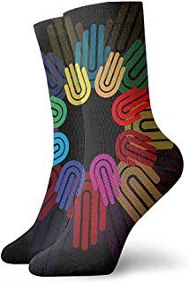 Kevin-Shop, Símbolo de Trabajo en Equipo círculo de Manos Icono Plano. Support Symbol Classics Calcetines de compresión Sport Athletic Crew Calcetines