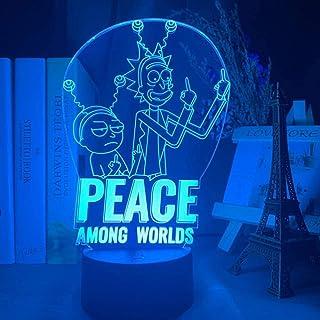 Lámpara de escritorio con ilusión 3D LED al lado y mesa de noche Rick and Morty Peace Among Worlds de Navidad, bebé niños regalos de cumpleaños 16 colores