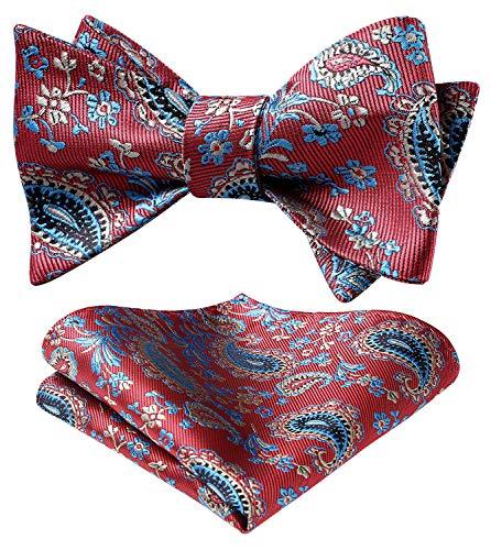 HISDERN Selbst Fliege Einstecktuch Set Paisley und Floral für Männer Fliegen Taschentuch für Hochzeitsfeier Pink/Blau
