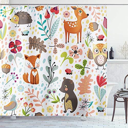 Ambsunny niedlicher Waldtier-Duschvorhang für Kinder, Wald, mit Igel, Fuchs, Giraffe, für Kinder, Kunstwerk, Stoff, Badezimmer-Deko-Set mit 12 Haken, 152 cm B x 183 cm H, bunt