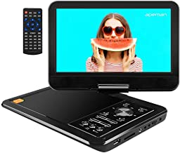 APEMAN 12.5'' Portable DVD Player with 10.5'' Swivel Screen Remote Controller Support SD Card USB DVD AV in/Out Earphone Speaker 5 Hours Built in Rechargeable Battery for TV Kids Car Travel Companion