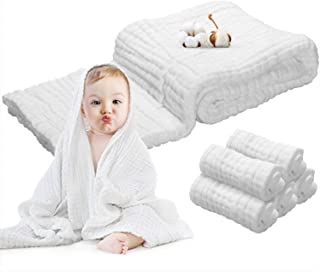 Baby Towels Muslin Washcloths Set - 5 Washcloths & 1 Large Baby Blanket Bath Towel of 6 Layers 100% Medical Grade Cotton Gauze, Super Soft, Water Absorbent, 6 PCS
