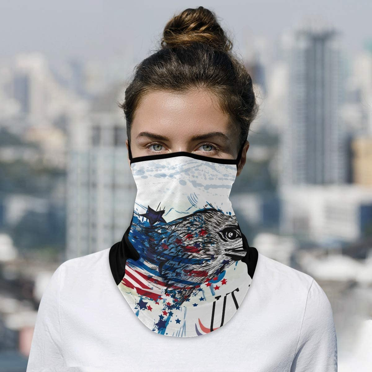 DAOXIANG Challenge the lowest Popular overseas price of Japan Tree USA Flag Owl Neck Gaiter Face Mask Cloth Reusable