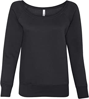 Canvas Womens Sponge Fleece Wide Neck Sweatshirt (7501) BLACK