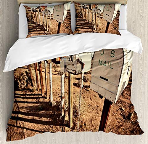 ABAKUHAUS Vereinigte Staaten Bettbezug Set Doppelbett, Alte Postfächer, Kuscheligform Top Qualität 3 Teiligen Bettbezug mit 2 Kissenbezüge, Weiß Braun Blau