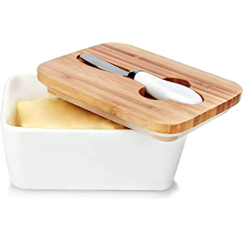 Butter Dish, OAMCEG Porcelain Ceramic Butter Container, Large Butter Keeper with Wooden Lid and Steel Knife, Airtight Butter Storage Container with Cover Holds Up to 2 Sticks of Butter