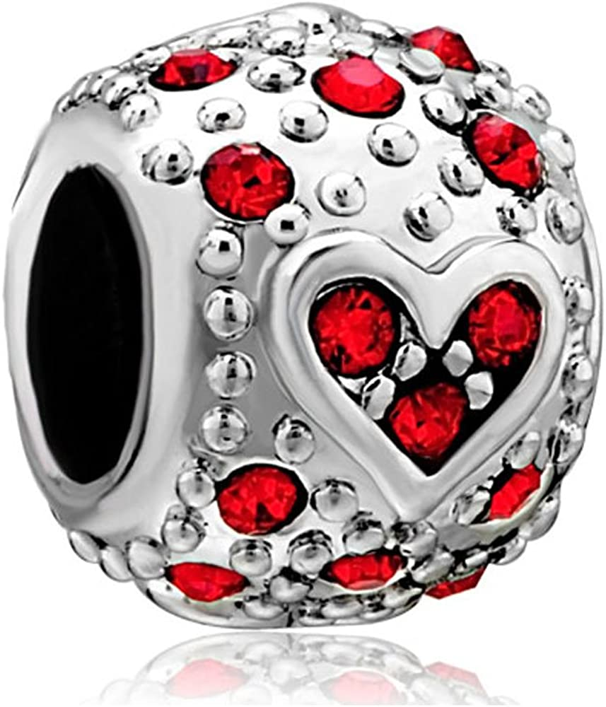 Pandora charm con cuore e perline rosse, in argento sterling 925, adatto per bracciali pandora DPC_ST82