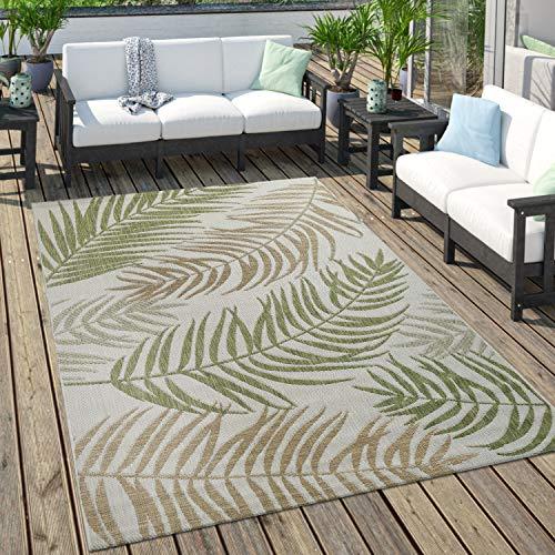 Tapis Extérieur pour Terrasse Et Balcon Pastel Palmiers Design Couleurs Variées, Dimension:60x100 cm, Couleur:Verdure