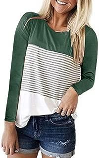 Women's Short Sleeve Round Neck Top Triple Color Block Stripe T-Shirt