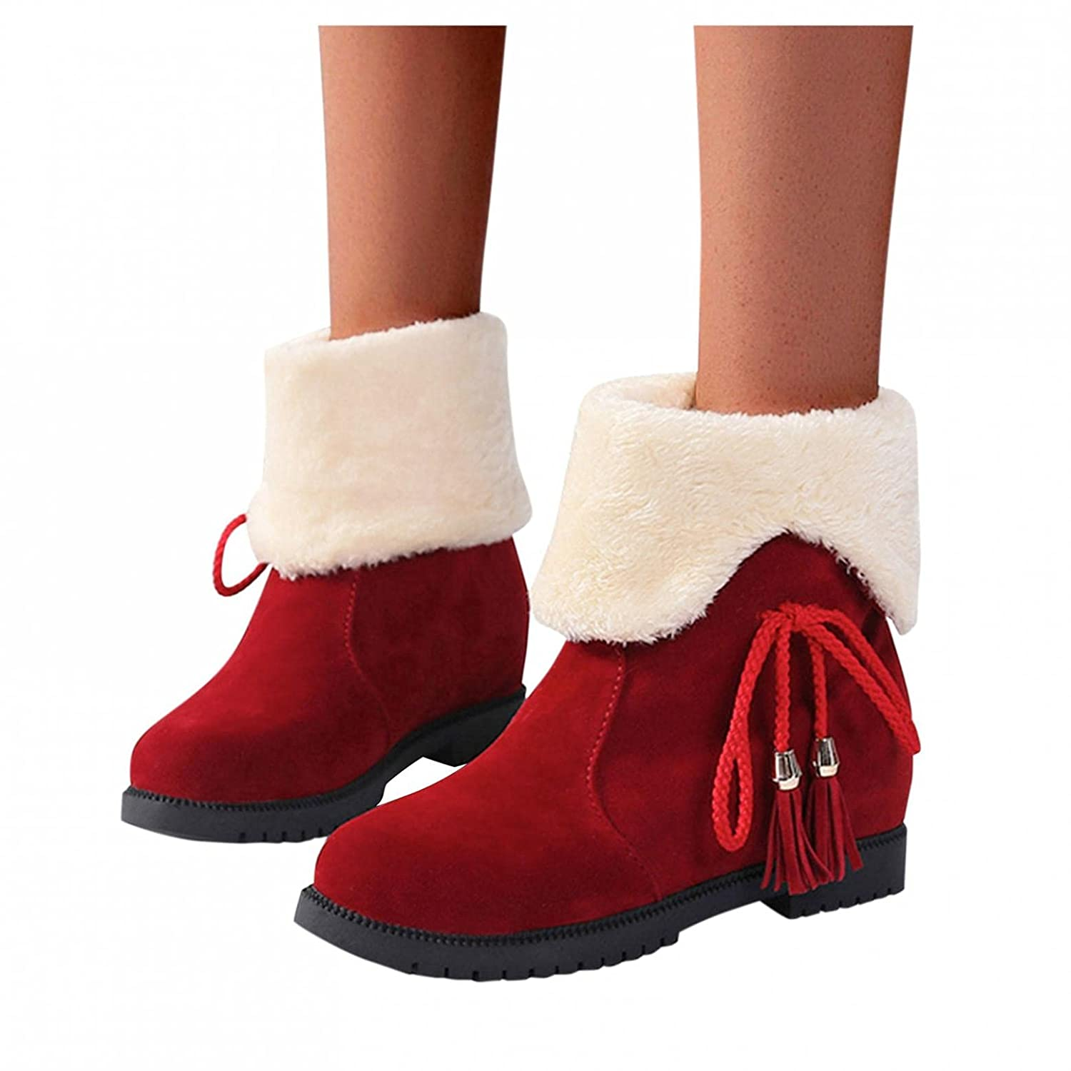 Padaleks Snow Boots for Women Warm Outdoor Slip On Fur Lined Winter Short Booties Anti-Slip Comfort Flat Shoes