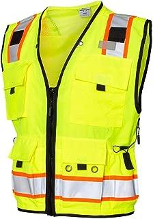 ML Kishigo Men's Class 2 High Visibility Professional Surveyor's Vest - Lime, XL, Model Number S5000