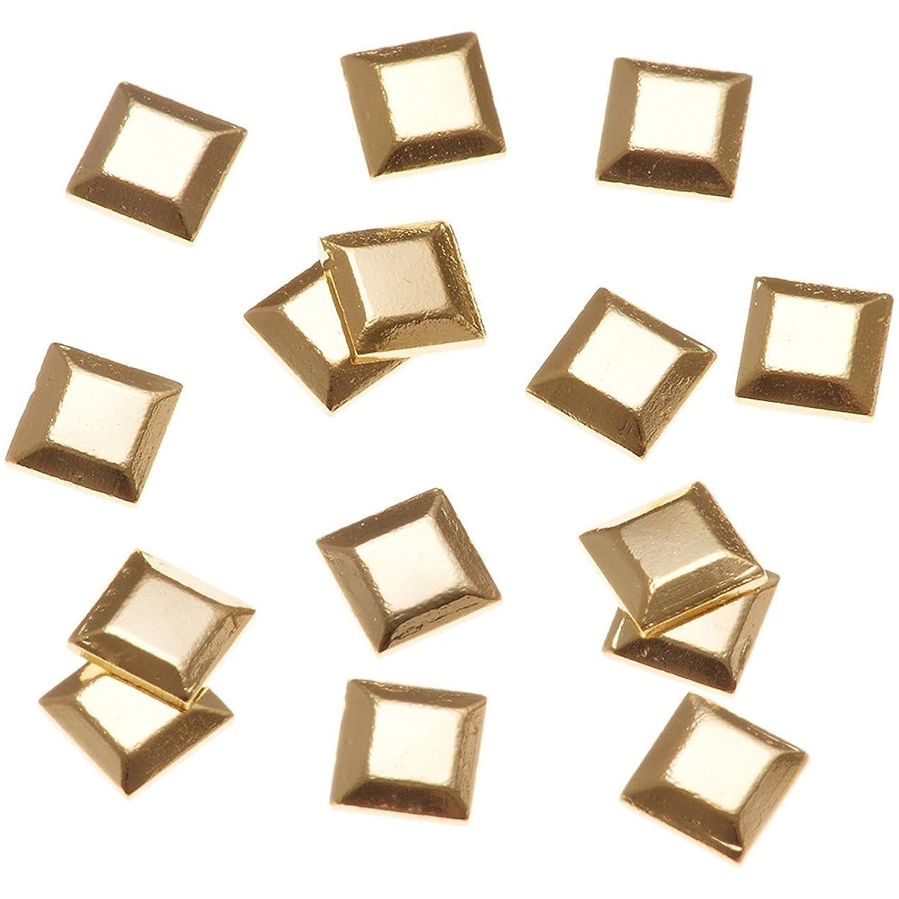 小麦軽減する上下するリトルプリティー ネイルアートパーツ スタッズスクエア ゴールド 50個
